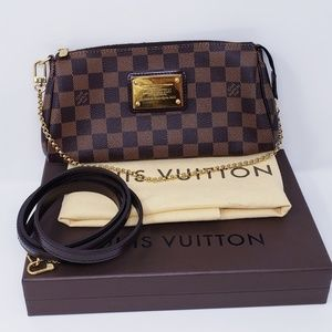 100% Auth Louis Vuitton Eva Clutch Damier Ebene